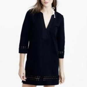 J Crew Cotton embroidered tunic, Black, Large